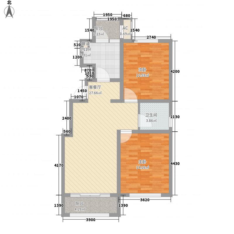 华厦津典三期101.38㎡华厦津典三期户型图12号楼3-8层E户型2室2厅1卫1厨户型2室2厅1卫1厨