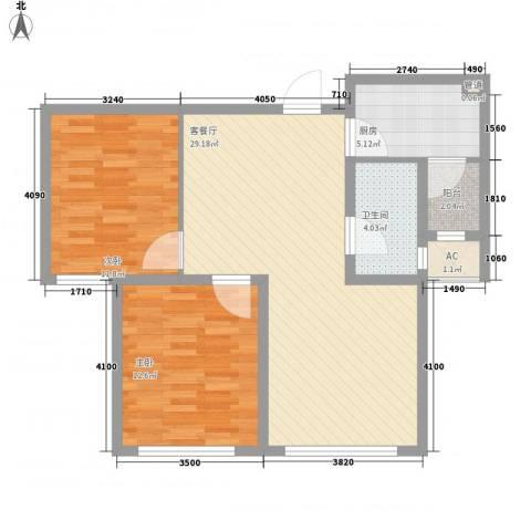 华厦津典三期2室1厅1卫1厨94.00㎡户型图