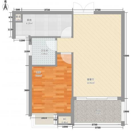 九仰梧桐公寓1室1厅1卫1厨65.00㎡户型图