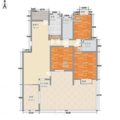 天正银河湾3室1厅2卫1厨164.54㎡户型图