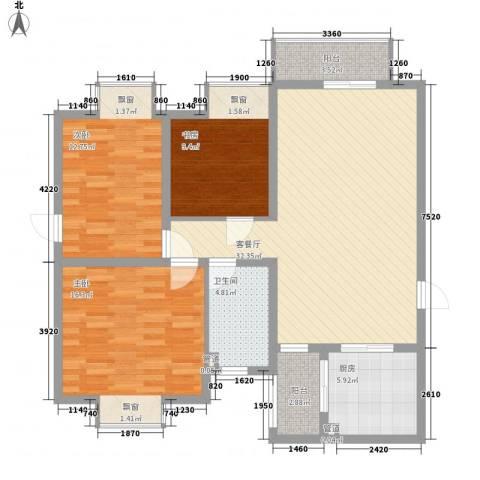 天正银河湾3室1厅1卫1厨115.00㎡户型图