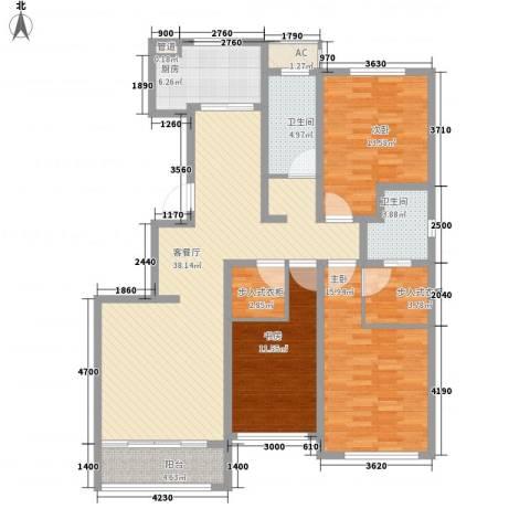 华厦津典三期3室1厅2卫1厨146.00㎡户型图