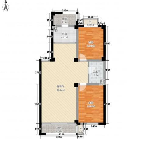 东方俪城2室1厅1卫1厨100.00㎡户型图