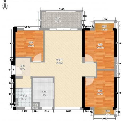 星湖花园3室1厅1卫1厨79.68㎡户型图