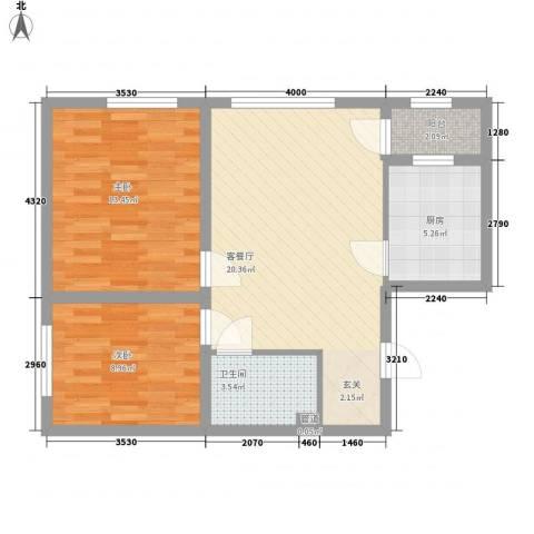朗诗国际街区2室1厅1卫1厨80.00㎡户型图