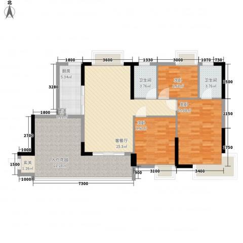 江南第一城3室1厅2卫1厨106.00㎡户型图