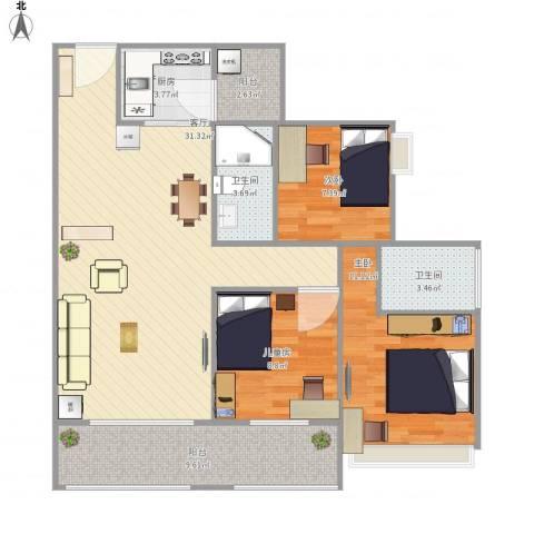 保利亚奥北苑3室1厅2卫1厨111.00㎡户型图