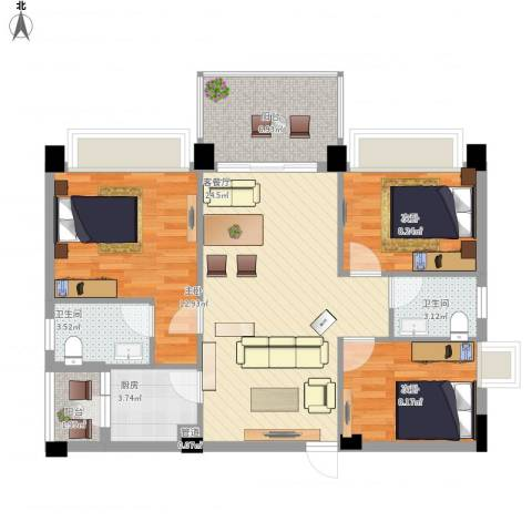 景湖春天3室1厅2卫1厨103.00㎡户型图