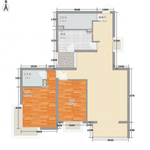 碧桂园温泉小区2室1厅2卫1厨119.00㎡户型图