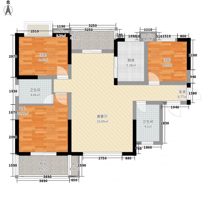 智慧新城124.85㎡8号楼J1户型3室2厅2卫1厨