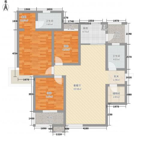 翰林观天下3室1厅2卫1厨136.00㎡户型图
