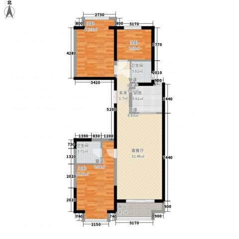 新天地鹭港3室1厅2卫1厨126.00㎡户型图