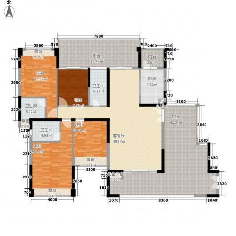 星河丹堤4室1厅3卫1厨271.00㎡户型图