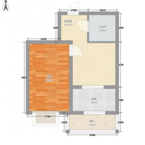 北华家园1室1厅1卫1厨54.00㎡户型图