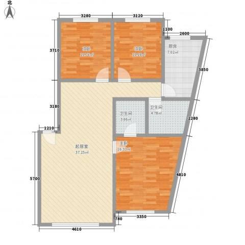 日月华庭二区3室0厅2卫1厨127.00㎡户型图