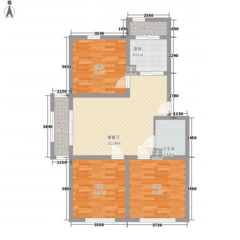 万嘉花园3室1厅1卫1厨105.00㎡户型图