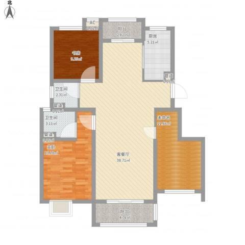 上品・长安人家2室1厅2卫1厨133.00㎡户型图