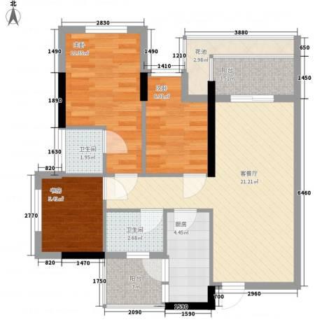 云裳丽影二期3室1厅2卫1厨92.00㎡户型图