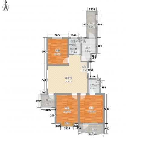 星湖花园3室1厅2卫1厨97.71㎡户型图
