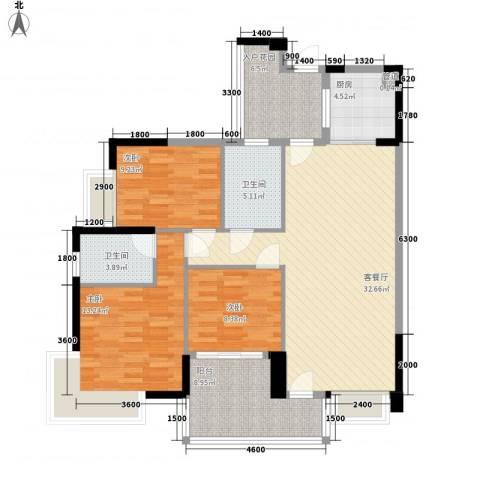 江南第一城3室1厅2卫1厨110.00㎡户型图
