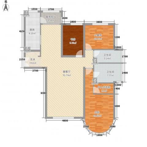 星湖花园3室1厅2卫1厨134.20㎡户型图