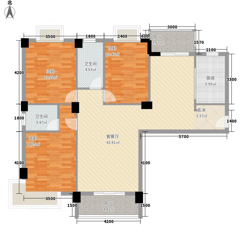 金环・御江苑132.00㎡1、2#楼户型3室2厅2卫