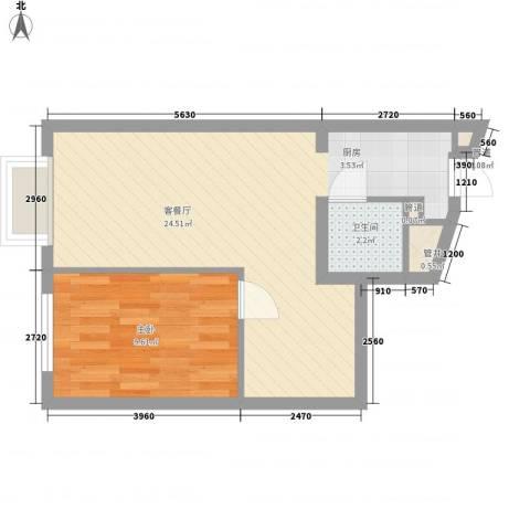高教新城・学区嘉园1室1厅1卫0厨59.00㎡户型图