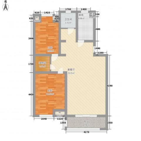 怡莲新城2室1厅1卫1厨97.00㎡户型图