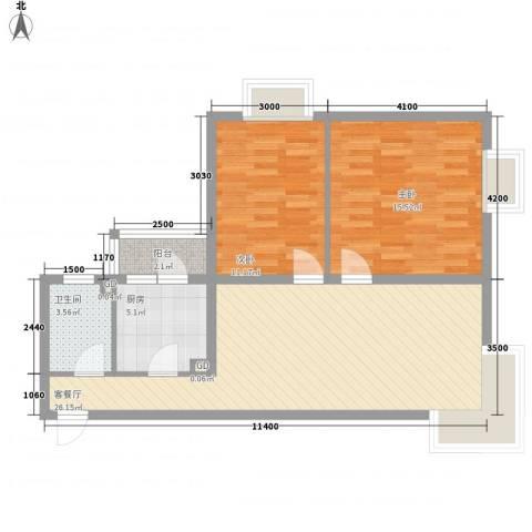 碧桂园温泉小区2室1厅1卫1厨92.00㎡户型图