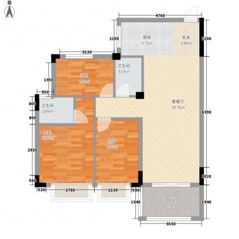 盈彩美地3室1厅2卫0厨106.00㎡户型图