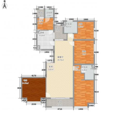 新天地鹭港4室1厅3卫1厨184.00㎡户型图