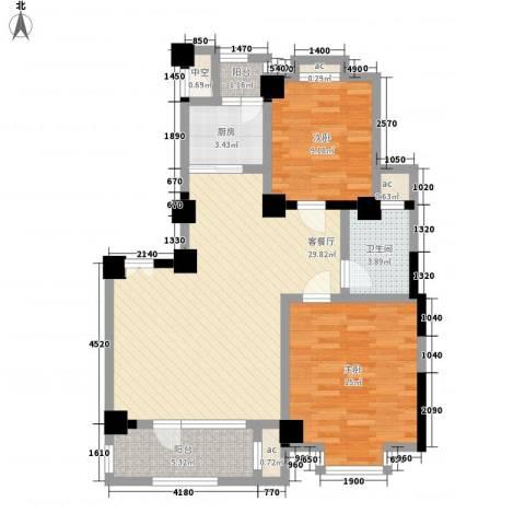 怡心居2室1厅1卫1厨111.00㎡户型图
