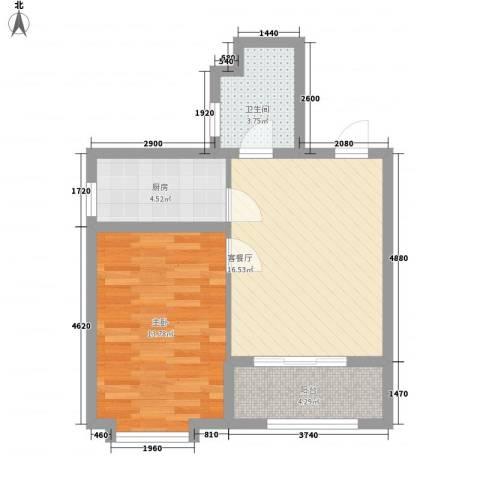 江南雅苑1室1厅1卫1厨62.00㎡户型图