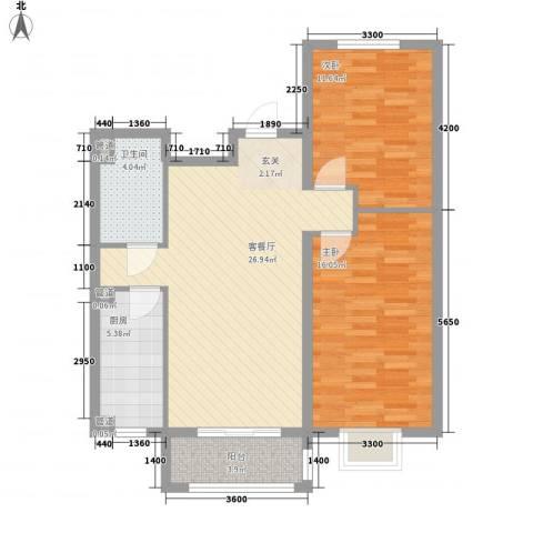 新天地鹭港2室1厅1卫1厨97.00㎡户型图