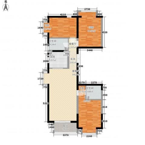 新天地鹭港3室1厅2卫1厨136.00㎡户型图