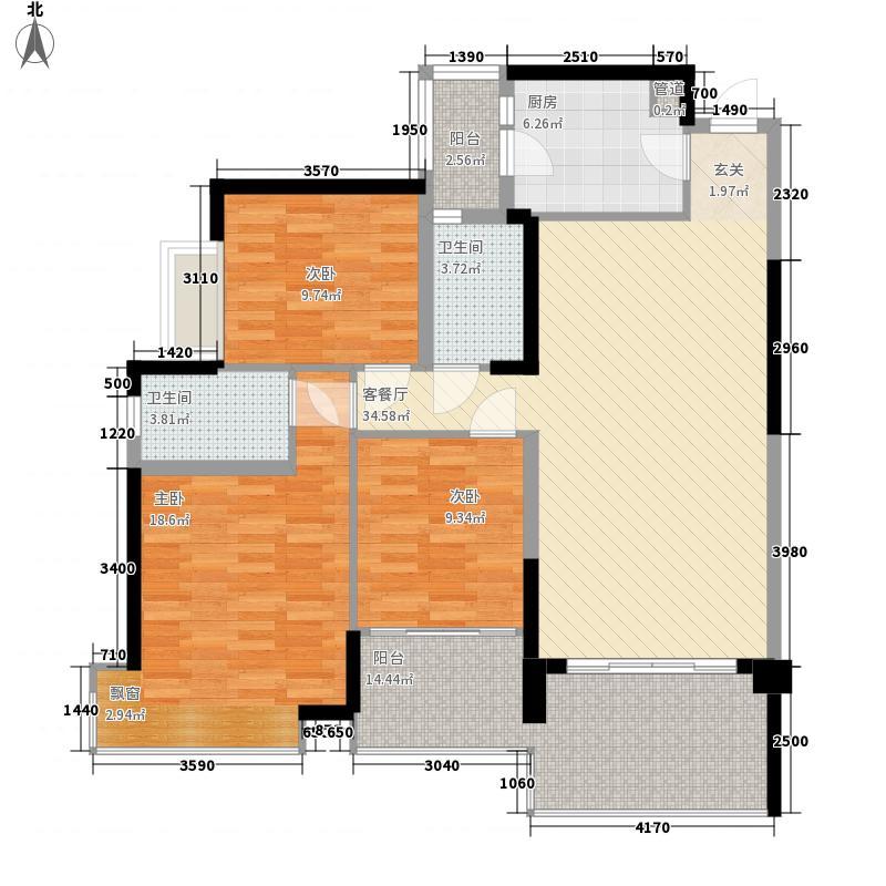 华凯逸悦豪庭13.30㎡二期16号楼02户型3室2厅2卫1厨