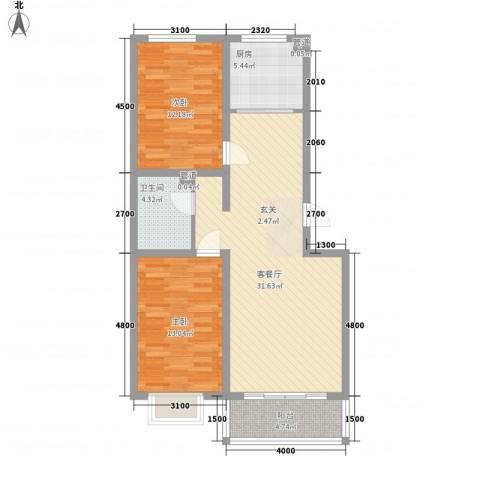 公元大道领誉2室1厅1卫1厨95.00㎡户型图