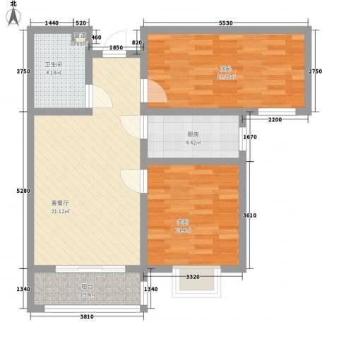 第一街区傲湖2室1厅1卫1厨84.00㎡户型图
