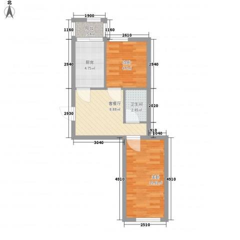 富民花园二期2室1厅1卫1厨52.00㎡户型图