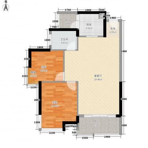 鹿港小镇2室1厅1卫1厨78.00㎡户型图