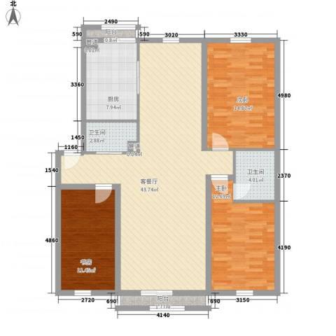 万嘉花园3室1厅2卫1厨142.00㎡户型图