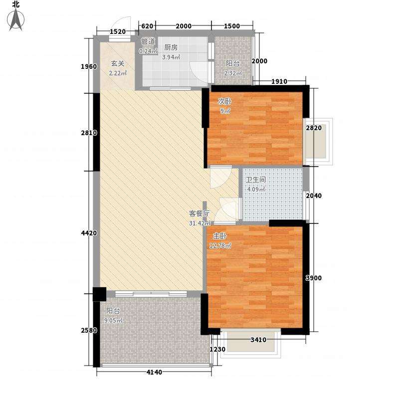 华凯逸悦豪庭2.83㎡二期16号楼01户型2室2厅1卫1厨