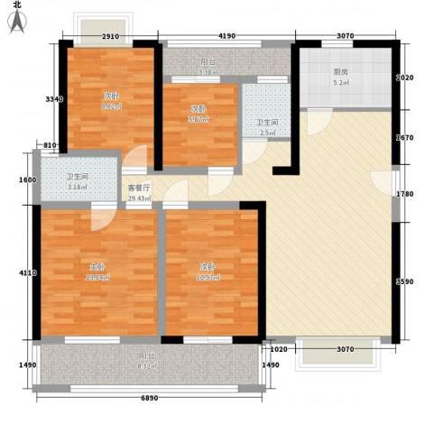 瑶东北村4室1厅2卫1厨91.51㎡户型图