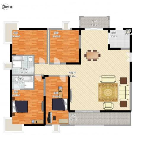 鸿景园4室1厅2卫1厨245.00㎡户型图