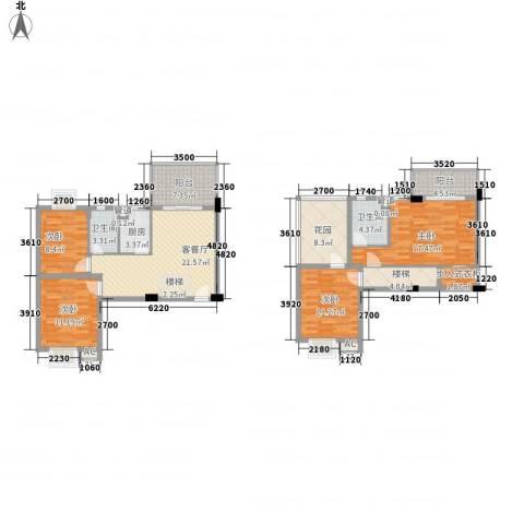 美洲花园E区2期4室1厅2卫1厨123.00㎡户型图