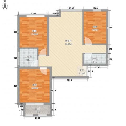 元和国际3室1厅2卫0厨82.44㎡户型图