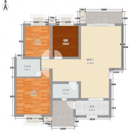 美洲花园E区2期3室1厅2卫1厨121.00㎡户型图