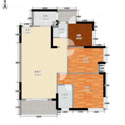 鹿港小镇3室1厅2卫1厨117.00㎡户型图