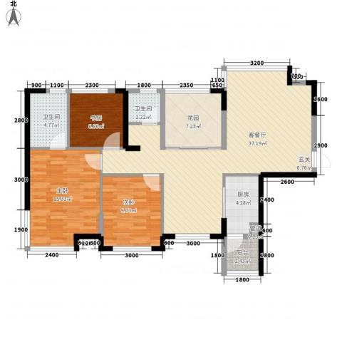 鹿港小镇3室1厅2卫1厨115.00㎡户型图