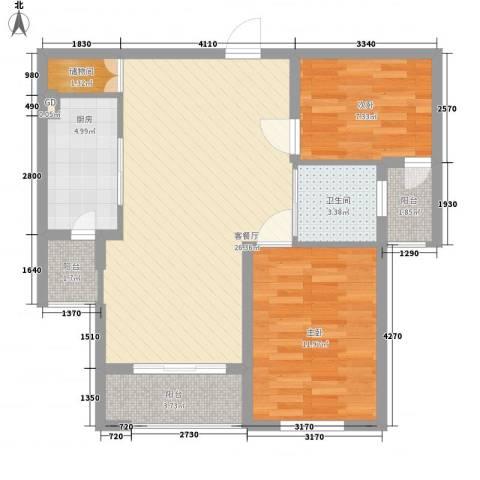 东湖京华2室1厅1卫1厨92.00㎡户型图